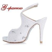 f77e4f056 White Lace Rhinestone Platform Peep Toe Bridal Heels Sandals Women S Cross  Party Prom Shoes Slingback