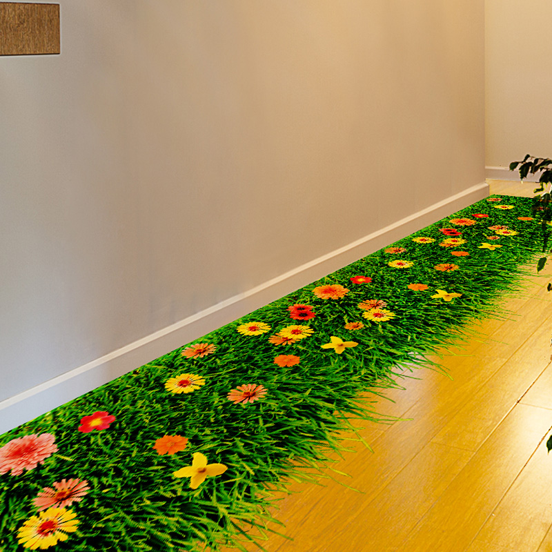 [SHIJUEHEZI] Flor de césped 3D Etiqueta engomada del piso DIY PVC - Decoración del hogar