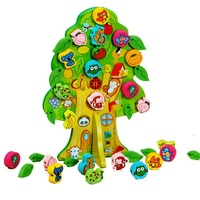 3D DIY Colourful Wooden Toy Animal Fruit Tree House Stringing Beads Baby Birthday Gift Children Favor