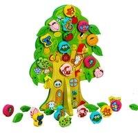 3D DIY Colorido de Madeira Toy Animal Fruit Tree House Contas Amarrando Crianças Favor Do Presente de Aniversário Do Bebê Educacional & Brinquedos de Aprendizagem