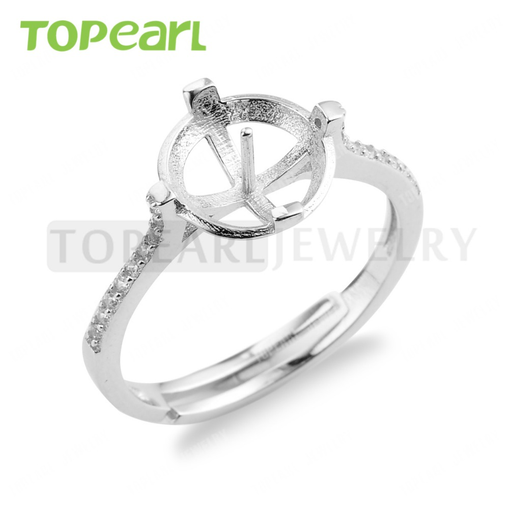 Lot 925 Sterling Silver Cubic Zirconia  Adjustable Ring Blank Pearl Ring