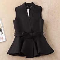 Printemps automne femmes Jacekt laine mélanges manteau tempérament coréen ébouriffé mince gilet gilet bureau dames vêtements hauts noir