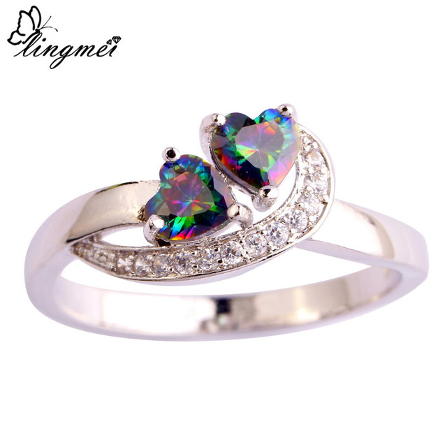 lingmei Free Shipping Wholeale Heart Great Mysterious Rainbow & White CZ Silver