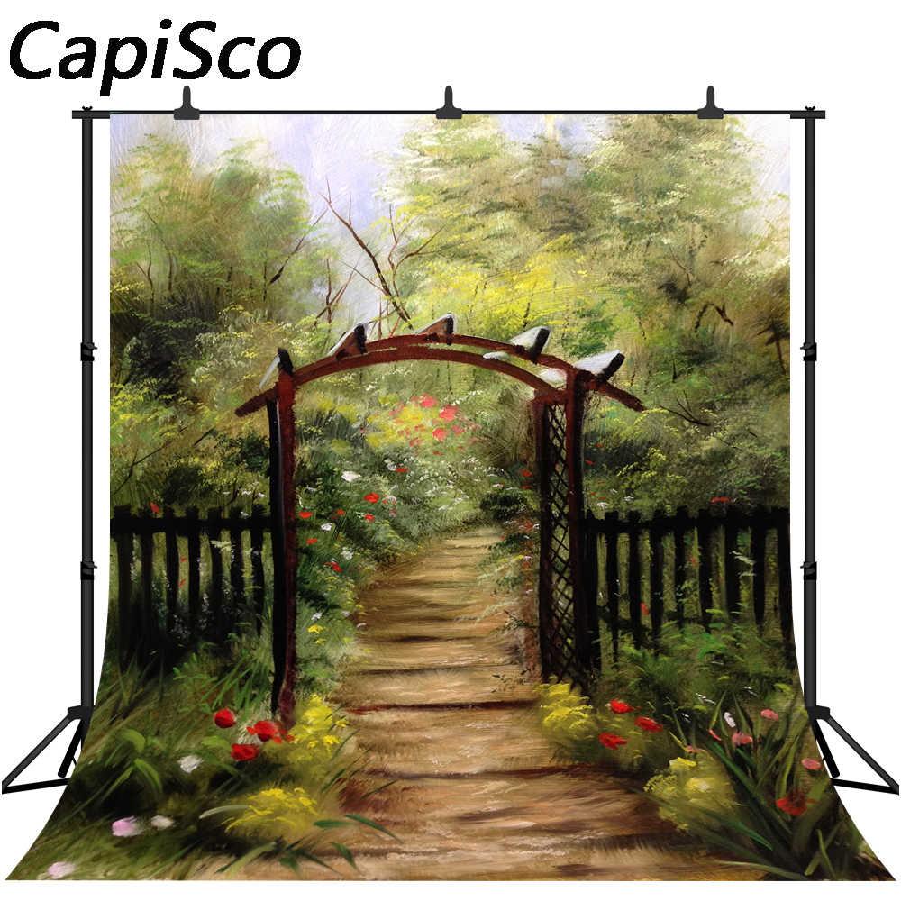 Capisco фотография Фон масляная Печать Цветочные Цветы мечта сад забор день рождения детей фон фотостудия