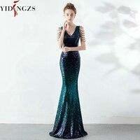YIDINGZS Sexy V neck Green Sequins Prom Dress Women Elegant Crystal Long Party Dress