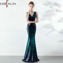YIDINGZS V-neck Green Sequins Prom Dress Women Elegant Beadi