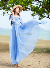 light blue ruffles collar chiffon long medieval dress Renaissance lace Gown princess costume Victorian /Marie Antoinette