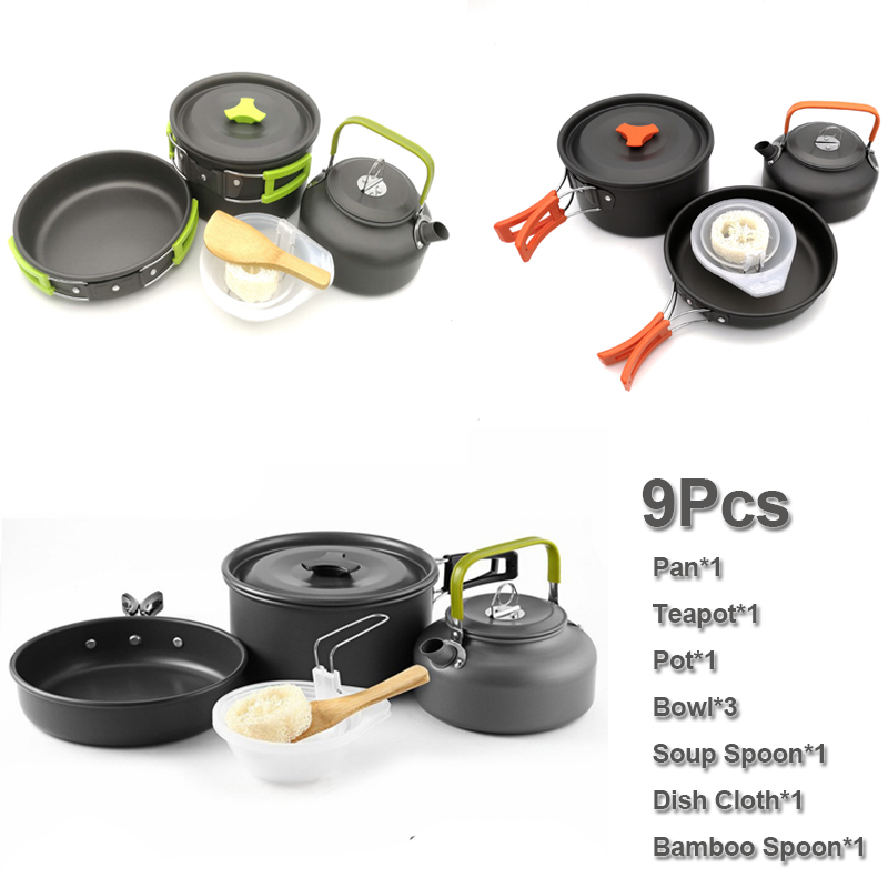 Boruit Ultralight Camping Cookware Utensils Outdoor Tableware Set Hiking Picnic Backpacking Camping Tableware Pot Pan 1-2persons Outdoor Tablewares Camping & Hiking