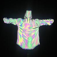 2019 Новая мода Для мужчин в стиле «хип-хоп» цветной, отражающий длинный плащ пальто уличный панк пальто-накидка с капюшоном куртки мужской но...