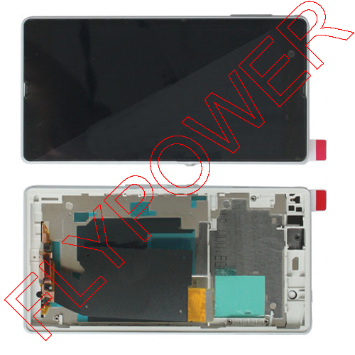 LCD Display Touch Screen digitizer with Frame Assembly for Sony Xperia Z LTE L36 L36h L36i C6602,C6603 White by free shipping
