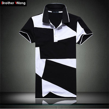 Casual POLO shirt male summer fashion new men's black and white stitching cotton short polo-sleeved polo shirt Slim men 5XL 6XL