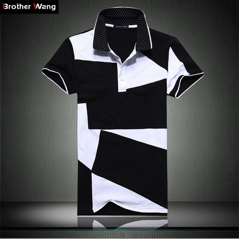 Casual camicia di POLO maschio di modo di estate dei nuovi uomini di cuciture in bianco e nero del bicchierino del cotone di polo camicia di polo a maniche corte degli uomini sottili di 5XL 6XL