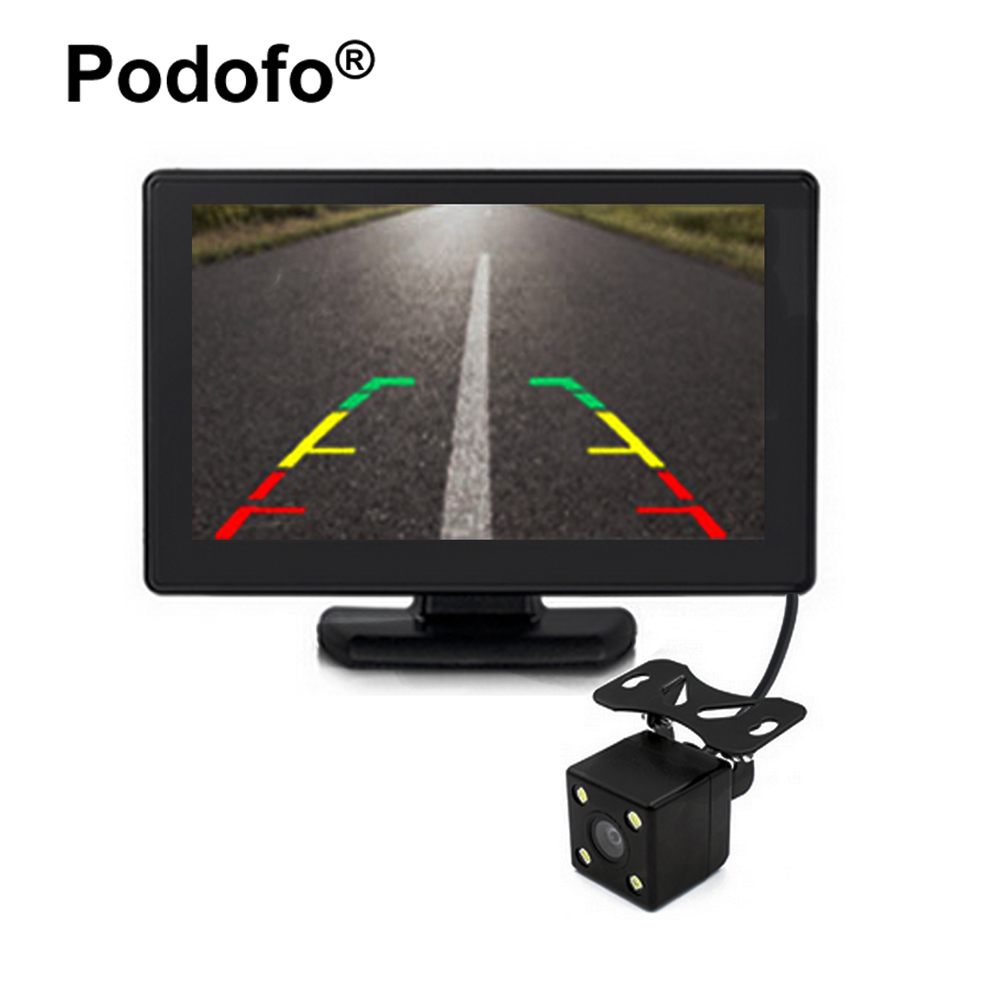 Podofo 4.3 Car Rear View Monitor with 4 Led Night Vision Reverse Cameras for Rearview Backup Camera Parking System Car-styling mayitr 1 set 4 3 foldable lcd monitor night vision car rear view reverse backup camera kits for car parking