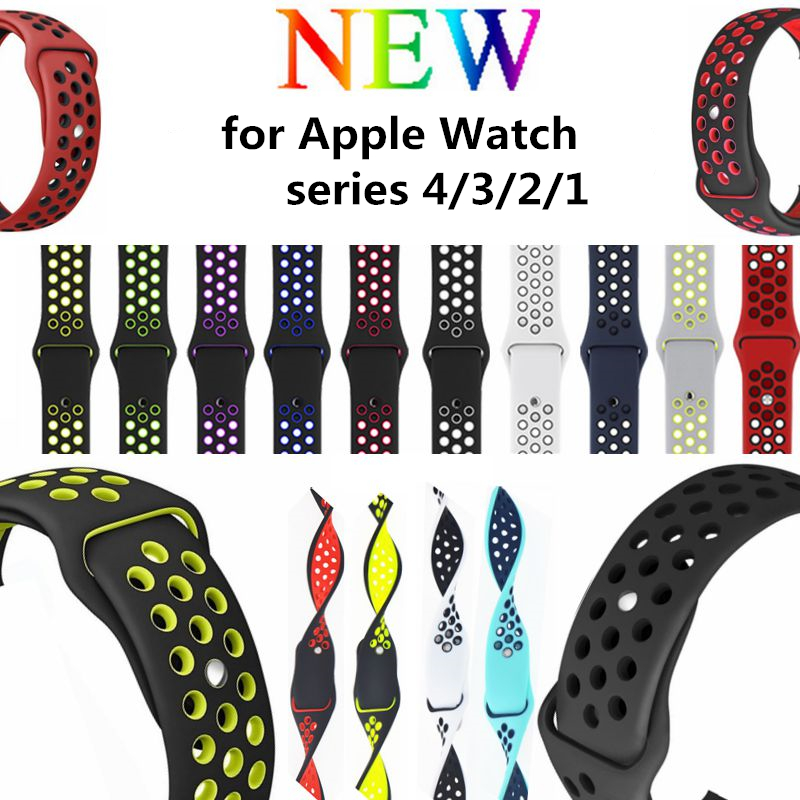 Sport Silicone Band Strap for Apple Watch series 4/3/2/1 44mm 40mm 42mm 38mm Breathable bracelet watchband for iwatch 20 colors sport band for apple watch band 44mm 40mm 38mm 42mm replacement watch strap for iwatch bands series 4 3 2 1