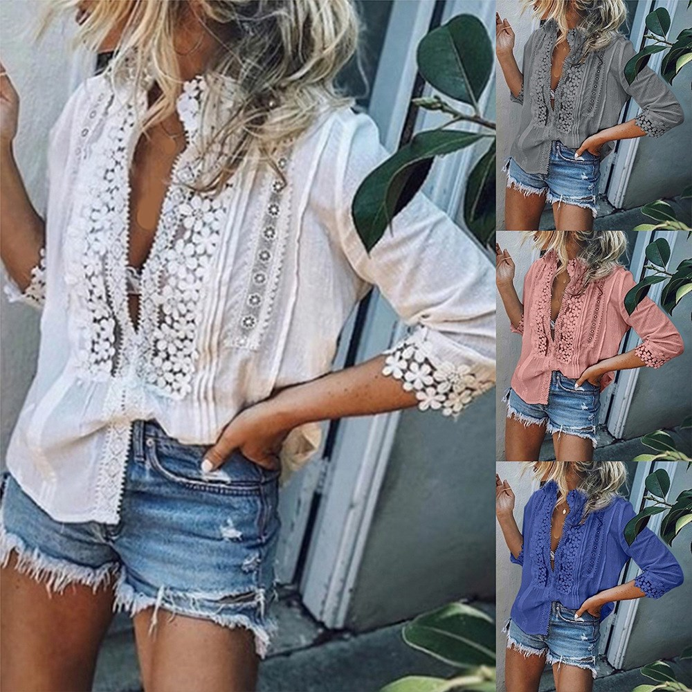 2019 Summer Women Stand Collar Floral Blouses Vintage Seven Sleeve Office Shirt Sexy Lace Beach Party Blusas in Blouses amp Shirts from Women 39 s Clothing