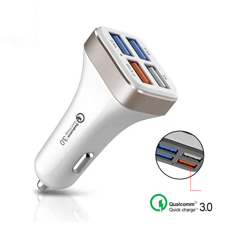 Quick Charge 3.0 Smart Car Phone Charger 4 Port USB Charger Adapter QC3.0 Fast Charging For Samsung iPhone Xiaomi Car Charger