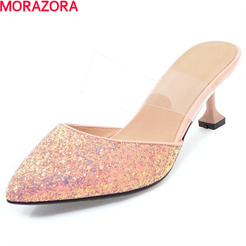 MORAZORA new top quality summer glitter fashion pumps party women high heel shoes pointed toe wedding shoes big size 34-43 loafers fashion round toe slip on women pumps female high heel shoes girls floral top quality brand footwear big size 43