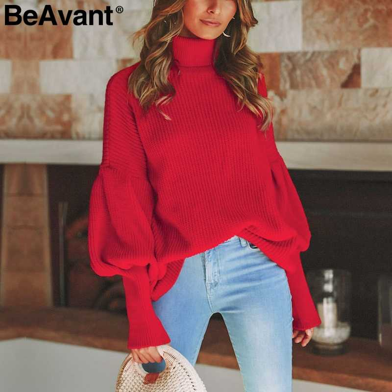BeAvant Turtleneck red winter sweater women knit Lantern sleeve white sweater female Loose oversized pullover knitted jumper