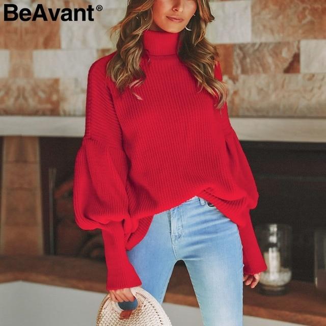 BeAvant Turtleneck red winter sweater women knit Lantern sleeve white sweater  female Loose oversized pullover knitted 859da25e6