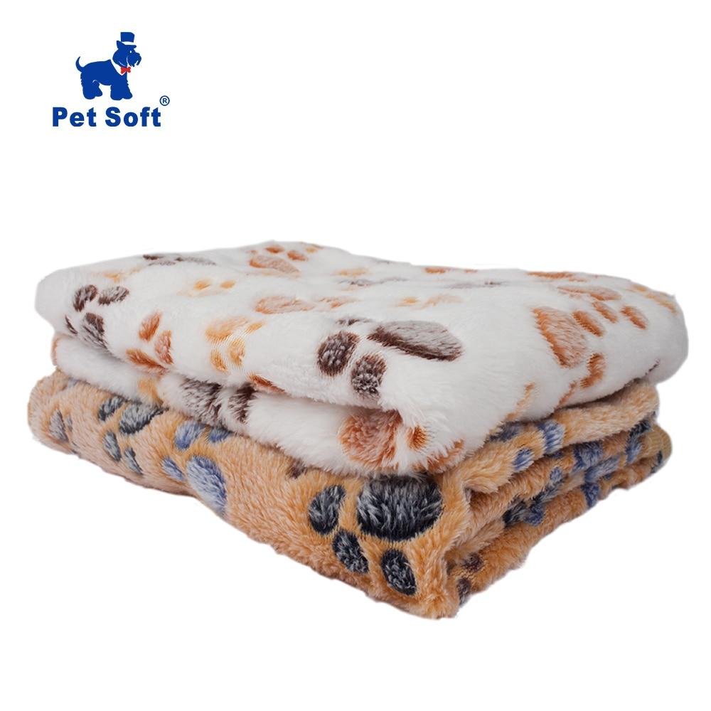 Pet Soft Pet Blanket Winter Dog Cat Bed Mat Foot Print Warm Sleeping Mattress Small Medium Dogs Cats Coral Fleece Pet Supplies