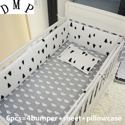 Promotion! 6PCS crib sheet sets Cot bumpers.Baby sheet.100% cotton baby bedding set, , include:(bumper+sheet+pillow cover)