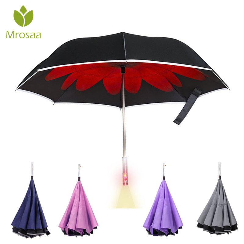 65f7828c3c24 US $25.54 5% OFF|Reverse Umbrella Double Layer Inverted Handle LED Light Up  Windproof Rain Car Auto Open UV Protection Self Stand Umbrellas-in ...