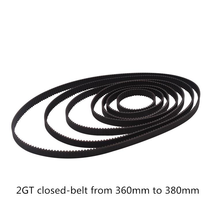 3D printer belt GT2 closed loop rubber 2GT timing  360 362 364 366 368 370 372 374 376 378 380  Length 360mm 362mm 380mm3D printer belt GT2 closed loop rubber 2GT timing  360 362 364 366 368 370 372 374 376 378 380  Length 360mm 362mm 380mm