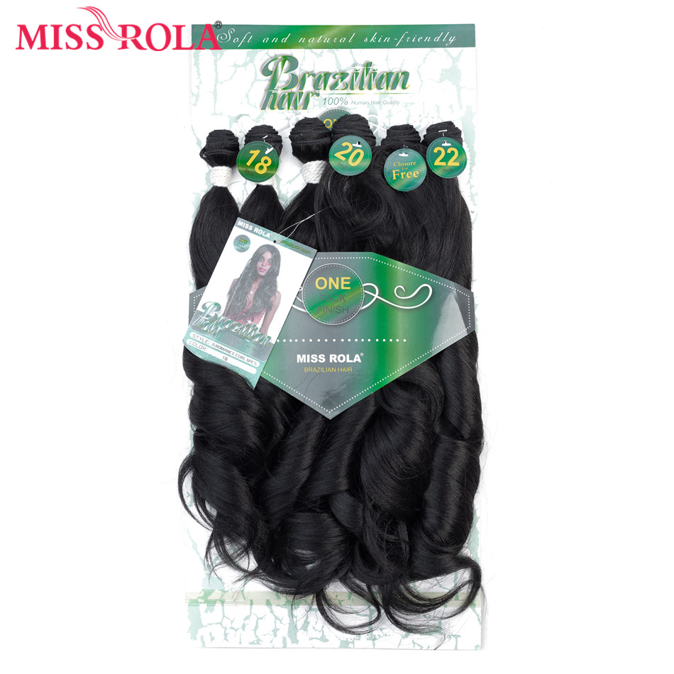 Miss Rola Ombre Wavy Hair Bundles Synthetic Hair Extensions Loose Wave Bundles T1B 18-22 6pcs/Pack Hair Weaves Free Closure