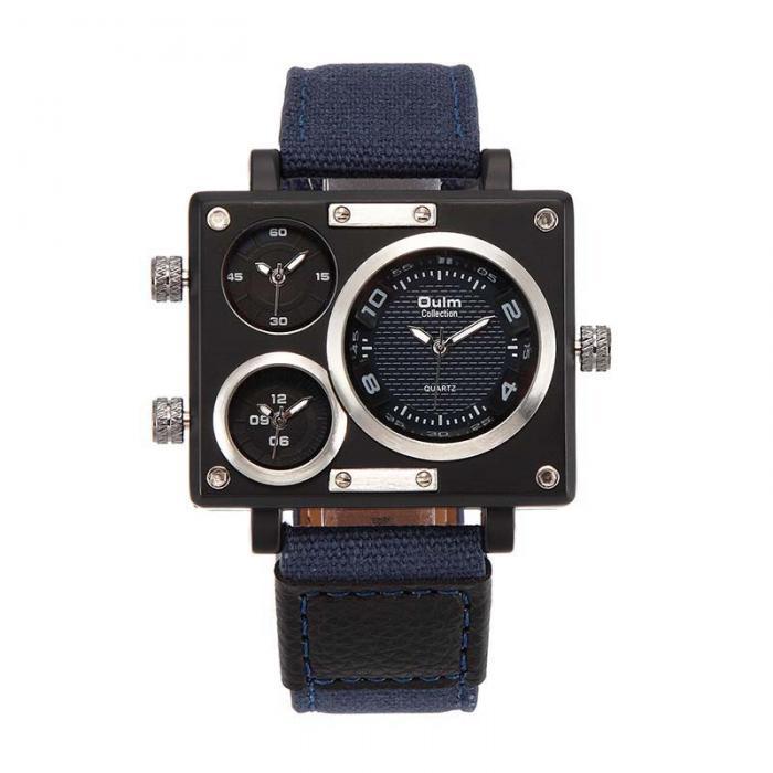 Topdudes.com - Original Oulm 3 Time Zone Unique Design Square Fashion Watches