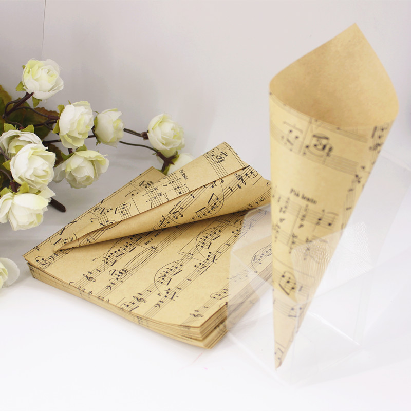 Aliexpress buy 50pcs flower cones holder ice cream style diy aliexpress buy 50pcs flower cones holder ice cream style diy brown kraft paper musical note candy box gift decor wedding favors party supplies from mightylinksfo