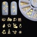 360 UNIDS de Navidad Diseño de la Serie de Oro Metal de la Aleación de Navidad Del Arte Del Clavo 3D Decoración Encanto Espárragos de Spike Joyería Herramienta de la Manicura