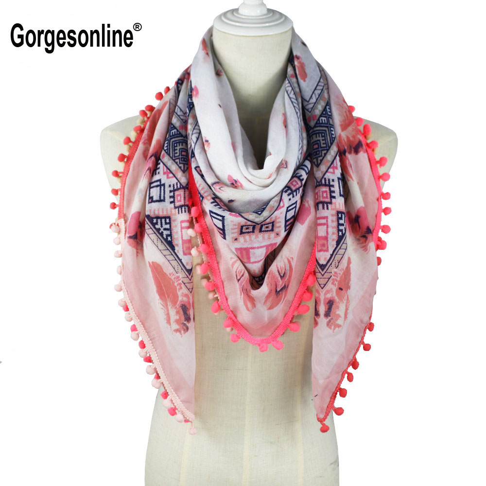 High Fashion 2018 Spring Summer Patchwork Printed Square Hijab Stole Scarf With Pom Poms
