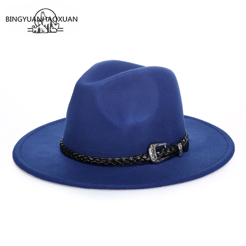 BINGYUANHAOXUAN Winter Autumn Fedora Hat For Men & Women With Punk Belt & Wide Brim Church Jazz Wool Fashion