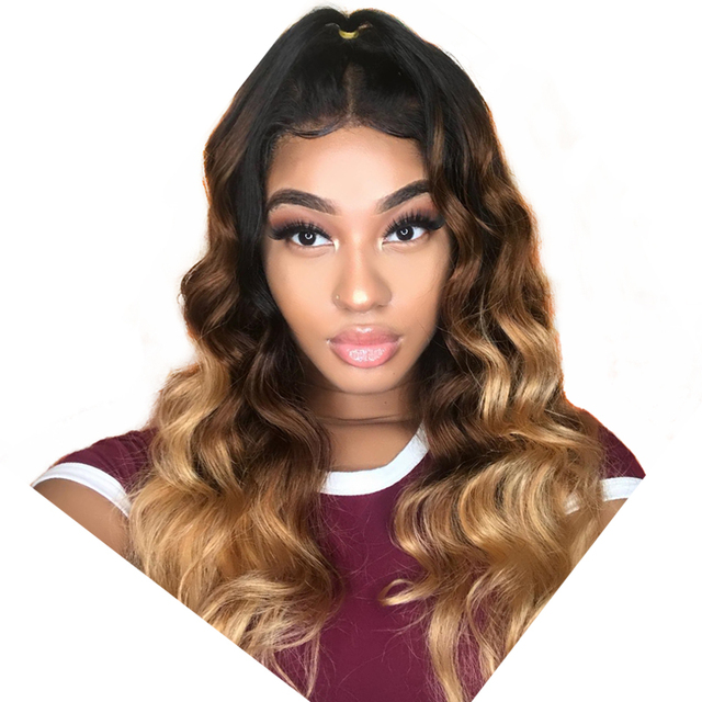 Ombre Human Hair Wigs 1B/4/27 Three Tone 250% Density Body Wave Lace Front Wig 4x4 Brazilian Lace Closure Wigs Comingbuy Remy