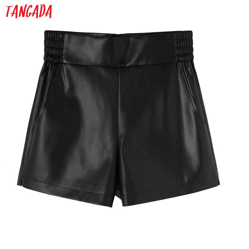 Tangada Women Black Faux Leather Shorts Elastic Waist Pockets Back Zipper Ladies Elegant Shorts Pantalones 1Y01