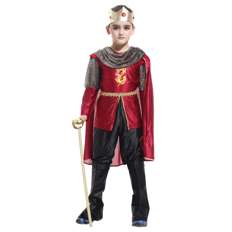 Kids Child Medieval Middle Age Royal Fighter Knight Costume Honorable Prince King Costumes Carnival Purim Halloween Cosplay