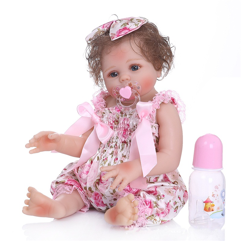 48cm Soft Full Silicone Body Reborn Baby Girl Dolls And Dress Lovely Baby Model Doll Photography Props Christmas Birthday Gift