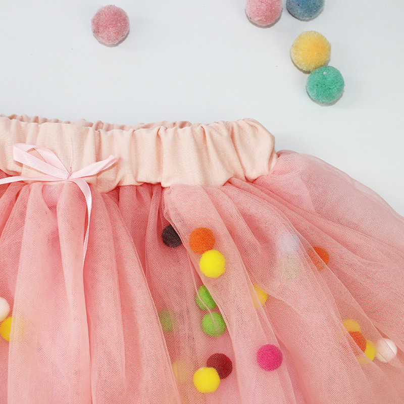 Spring summer Lace Mesh Baby Girl Tutu Skirt Colorful pompom Princess Girls Skirts 1-4Y Children Clothing Tutu ball Pettiskirt (3)