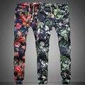 XX13 Nuevo diseño 2016 de La Manera del Lazo de Los Hombres Pantalones de Algodón de Alta calidad 5 patrón de impresión Hombres basculador pantalones de Ocio de Los Hombres M-5XL