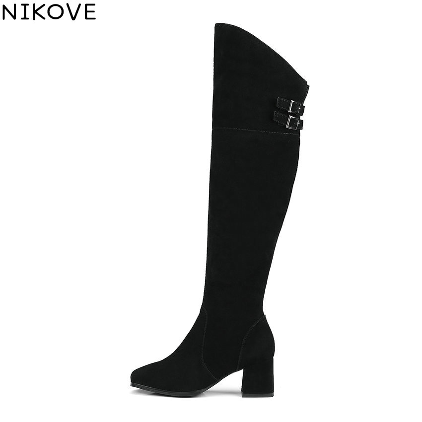 NIKOVE 2018 Women Boots Square Toe Short Plush Western Style High Heels Knee-high Boots Spring Autumn Ladies Boots Size 34-39 nikove 2018 women boots western style high heel over the knee boots round toe spring and autumn fashion ladies boots size 34 39