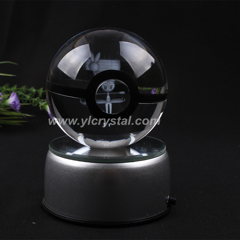 Meloetta Pokemon Ball With Engraving New Style Crystal Ball With LED Base With Gift Box