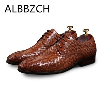 New arrival derby weave men shoes quality cow leather formal wedding dress shoes mens oxford designer business office work shoes