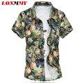 LONMMY M-6XL Hombres camisa a cuadros vestido Delgado de Seda Ocasionales de Flores de algodón para hombre camisas florales de manga Corta de Alta calidad 2016