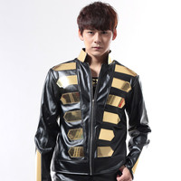 Nightclub Dj Singer Male Fashion Punk Gold Black halley motorcycle leather Jacket Men's clothing male stage show wear costume