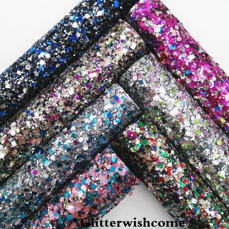 Glitterwishcome 21X29 см A4 размеры синтетическая кожа, лес Коренастый блестящая кожаная ткань винил для Луки, GM059A