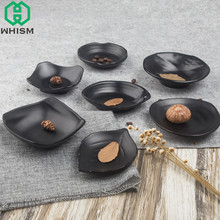 WHISM Black Melamine Frosted Butter Dishes Imitation Porcelain Tableware Restaurant Snacks Holder Sushi Food Plate Dinnerware