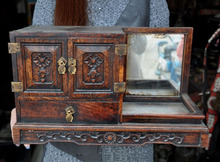 wedding decoration Collect Chinese Huanghuali Wood Hand Craved classical Makeup box Jewelry boxes A