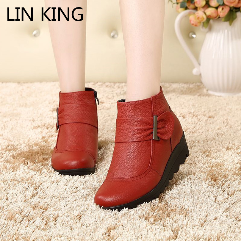 LIN KING Snow Boot Shoes Women Genuine Leather Large Yard Winter Boots Women Boot Warm Plush Winter Shoes Ankle Boot Big Size крис ри chris rea stony road the blue jukebox deluxe edition 2 cd