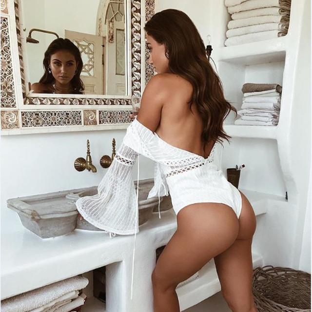 Lace white jumpsuit for women