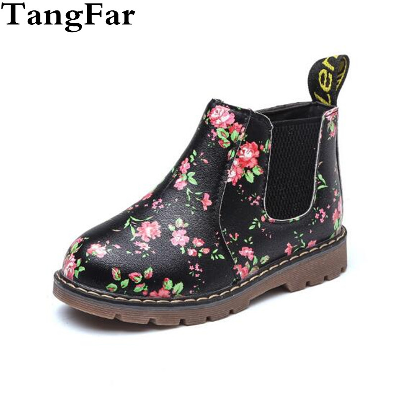 Children Rubber Boots Waterproof Flower Print Baby Girls Flat Heel Shoes  Kids Leather Martin Boots Non a928e9b557ec